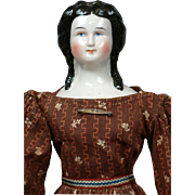 "SALE 14"" Smiling China Lady All Original With Snood, Bun & Long Curls C. 1852-58"