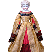"""One of A Kind 19"""" German Parian Lady in Magnificent Original Theatrical Golden Silk Brocade"""