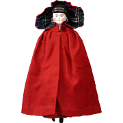 SOLD Wonderful Early c.1875 Wool Crimson Capelet w/Hood and Silk Hood Lining for Early Antique