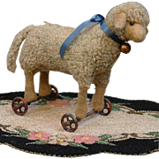 SOLD Cute & Rare Antique Mohair Steiff Lamb on Wheels c.1910 Adorable as a Pet For Your Favori