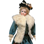 White Rabbit French Fashion Doll Stole Lined in Silk C. 1905