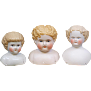 Fabulous All Antique 3-Piece Lot of Parian, Tinted Bisque, & China Heads in EXCELLENT CONDITIO