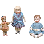 SALE Great Lot of 3 Antique All-Bisque Dolls -- Great For the Petite Item Collector!