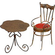 Petite Antique Chair & Table Doll Furniture Set in Brass