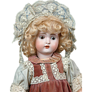 "Charming 18"" Hertel & Schwabb 136 Antique Bisque Doll In Lacy Day Dress"