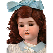 "Darling 22"" Kley & Hahn ""Dollar Princess Special"" Bisque Doll w/Deep Red Curls"