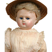 """18.5"""" All Original Wax Over Paper Mache Lady Doll With Glass Sleep Eyes"""