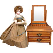 "SALE Excellent Antique Pine Vanity with Accessories 19"" Height for Fashion Doll Scenery"