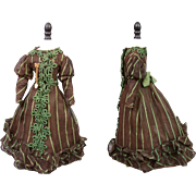 """Superb Cotton and Silk Ball Gown c. 1880 For 17-18.5"""" French Fashion Poupee ..."""