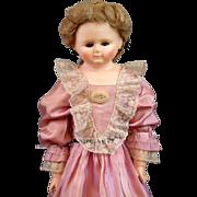"SALE Exquisite RARE BOOTs Wax Over Papier Mache Doll 27"" w/RARE Blue Sleep Eyes!"