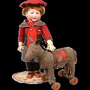 SALE Fabulous Antique Early & Rare Steiff Wool Felt Donkey on Wheels c.1900-1905