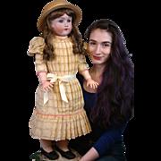 """Life-Sized 31"""" Handwerck/Halbig Antique Doll w/Fabulous Blue Eyes & Orig Marked Body!"""