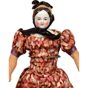 "SALE Dollhouse Miniature 8.5"" Antique All Original China Lady with Original Antique Bonne"