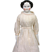"Exceptional Expression 14.25"" Antique China Lady with Near-Flawless Head c.1870"