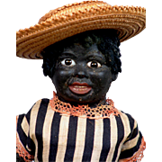 """SALE Extremely Rare 15"""" German Black Papier Mache Doll with Glass Eyes All Original"""