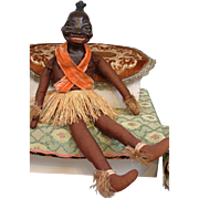 Unusual c.1930s Black Caricature Composition Josephine Baker-type Doll on Cloth Body in Native
