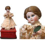 SALE Rare All Original Closed Mouth French Automaton of Lady With Mirror & Handkerchief~Fully