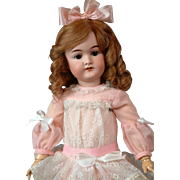 "SALE Darling 20.5"" Karl Hartmann Antique Bisque Doll in Pink Lacy Dress"