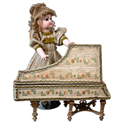 RARE Early French Fashion or Bebe Piano 'Cadre' Box c.1880 with Original Silk Exterior