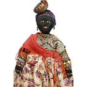 """Exotic Bahia Brazilian Cloth Doll 17"""" with Intricate Amazing Costume Early 1900s"""
