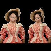 "Superb 16.5"" Early Civil War Papier Mache Lady With Glass Eyes, Early Poke Bonnet ..."