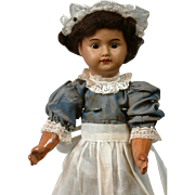SALE Desirable SFBJ French Black Bisque Doll in Cute Maid Costume