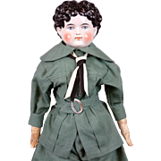 Cute Antique China Boy c.1880 in Great Condition in Dashing Blue Costume w/Leather ...