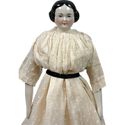 SALE Circa 1860 Antique China Lady in Delightful Antique Dress 15.25""
