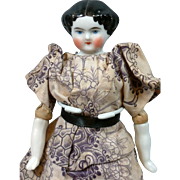 "Delicious Doll House Size China Lady in Antique Costume 7.5"" for Cabinet Collection"