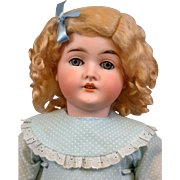 """Bright in Blue Queen Louise Armand Marseille 23.5"""" Antique Bisque Doll"""