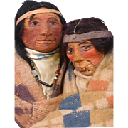 RARE Pair of Mary Francis Wood Native American Dolls with Cigarette