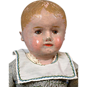 """20"""" Martha Chase Child Doll Hand crafted from Stuffed Hand-Painted Oilcloth     c.1915-19"""