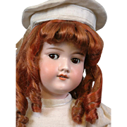 "Gorgeous Redhead Armand Marseille 390 FLIRTY 24.5"" Antique Doll w/White Toque Hat"