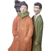 Pair of Unique Paper Mache dolls 1920's