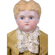"Dapper Antique Tinted Bisque Boy 19"" in Gentleman's Costume"