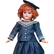 """Ginger Simon Halbig 1079 Antique Bisque Girl 22.5"""" in Navy Sailor Costume"""