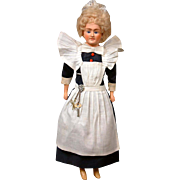 "16.5"" Beautiful Papier Mache Cuno & Otto Dressel Lady Doll in Original Parlor Maid costume ."