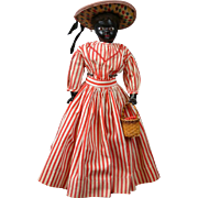 *The RARE* Black Fashion Lady German Paper Mache Head Doll with Wooden Arms!