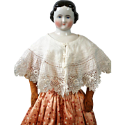 Beautiful Early c.1880 Antique White Cotton Lace Capelet