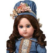 "18.5"" Tete Jumeau French Bebe with Cobalt Blue Eyes, Closed Mouth, Stunning Costume"