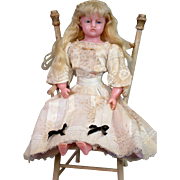 """*Barefoot Beauty* 15"""" English Poured Wax Early Lady c.1855 with Original Hand-Inserted Wi"""