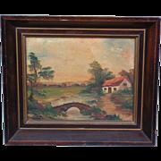 Adorable Antique Pastoral Oil Painting C. 1915 Signed H Y Marx Original Mahogany Frame
