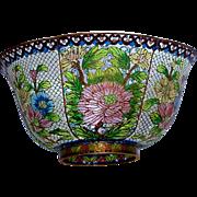 HUGE and Spectacular Plique-a-Jour Cloisonné Enamel Bowl Six Panels With Pierced Openwork ...