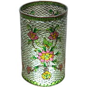 Beautiful Early Victorian Plique-a-Jour Cloisonne Candle Cover