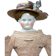 """SOLD Fabulous 22.5"""" Biedermeier China Black Cap Doll With Smiling Expression!"""