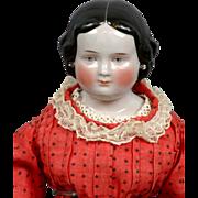 """SOLD A True Gem 16.5"""" Civil War Era China Lady In Original Dress"""