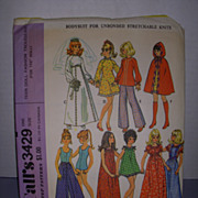 "Vintage McCall Doll Pattern for 11 1/2"" Teen Doll  Fashion Trousseau!."