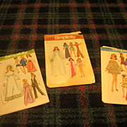 Three Vintage Doll Patterns for Barbie Type Fashion Dolls.