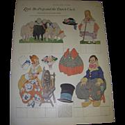 """SALE 1923 Vintage Paper Doll Sheet """"Little Bo-Peep and the Dutch Uncle"""" Uncut!"""