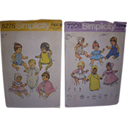 """SALE 2 Simplicity Vintage Patterns for Betsy Wetsy, Tiny Tears, Other Baby Dolls 16""""- 18"""